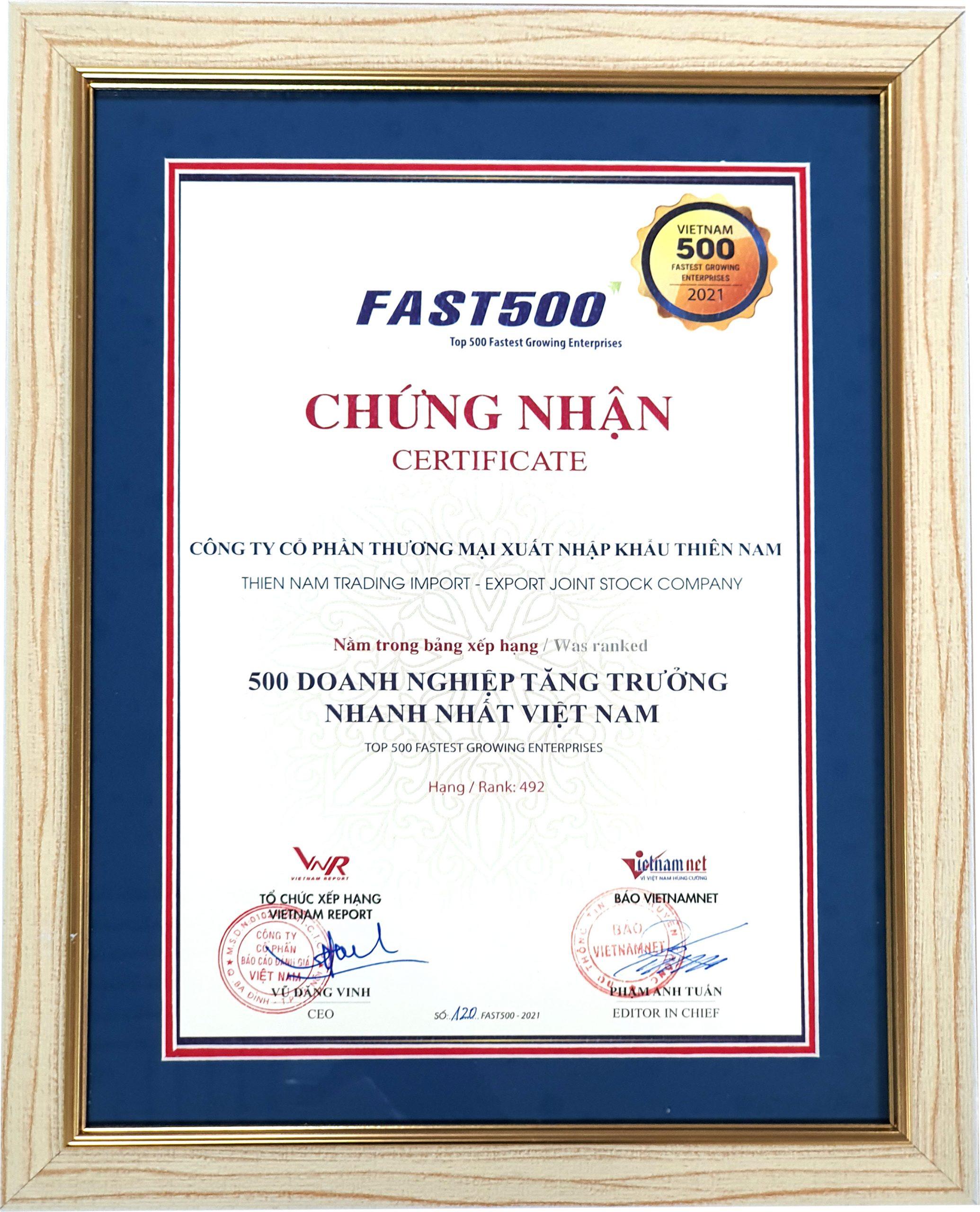 Thiên Nam Group nhận giải thưởng FAST500